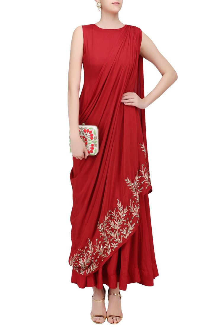 Red and gold leaf embroidered drape dress available only at Pernia's Pop Up Shop.