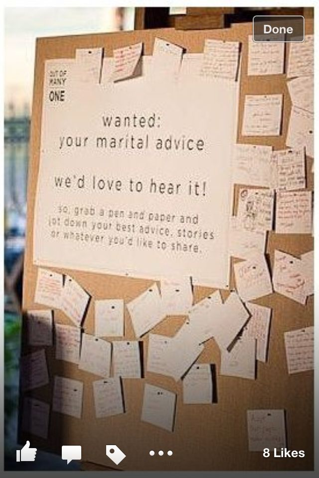 Love this idea of posting wedding advice on a pin board. Fun activity for the reception or after the ceremony.