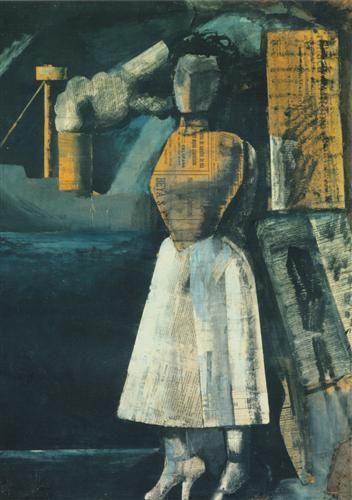 Mario Sironi (Italy 1885–1961), Venus of the Ports, tempera and collage on paper, 1919.  Milan, Civiche Raccolte d'Arte, Boschi Di Stefano Collection © Casa Museo Boschi di Stefano.