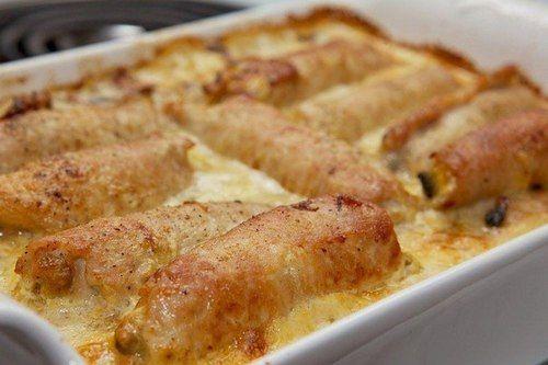Рулеты из свинины с грибами и сыром моцарелла
