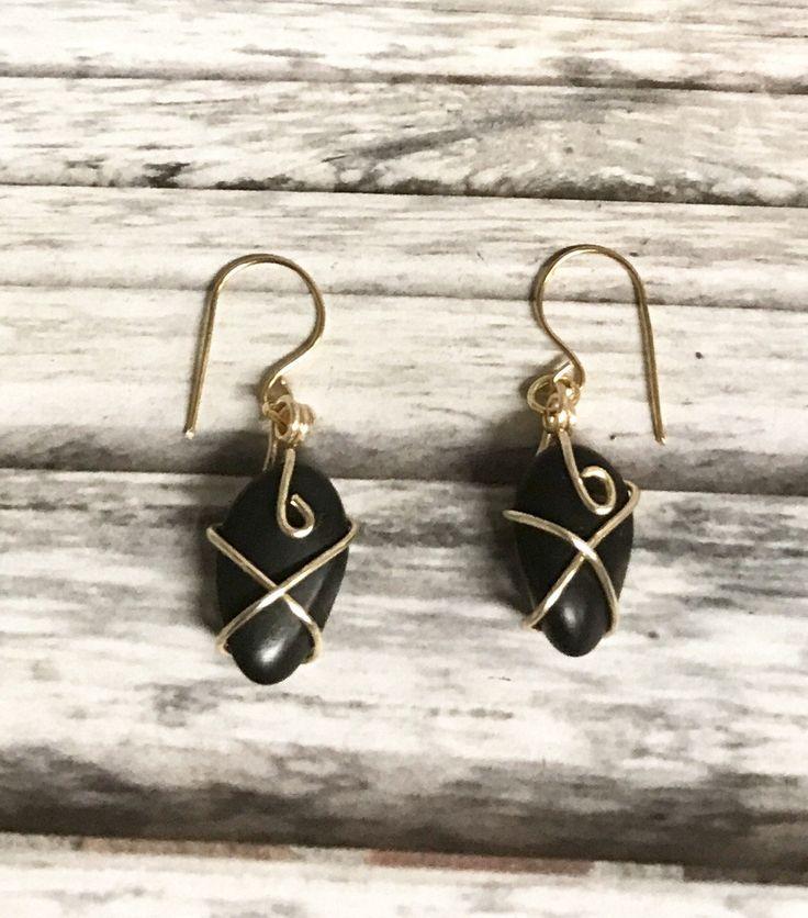 Wire Wrapped Copper Earrings | Black Wire Wrapped Stone and Gold Copper Earrings | Gold Colored Copper Earrings by TInkLLC on Etsy
