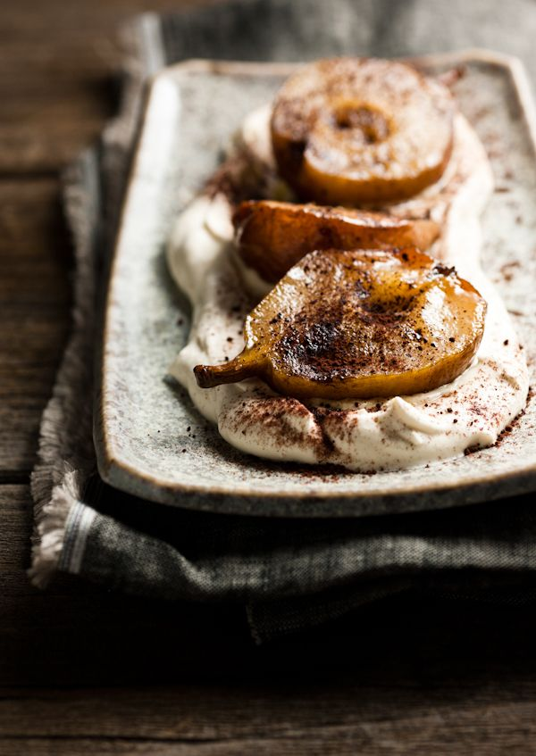 // Roasted Pears with Espresso Mascarpone Cream