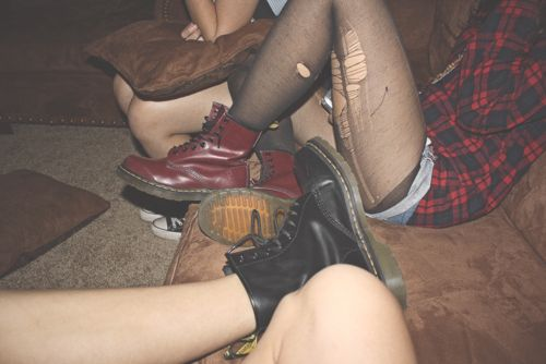 plaid, shorts, ripped tights, docs