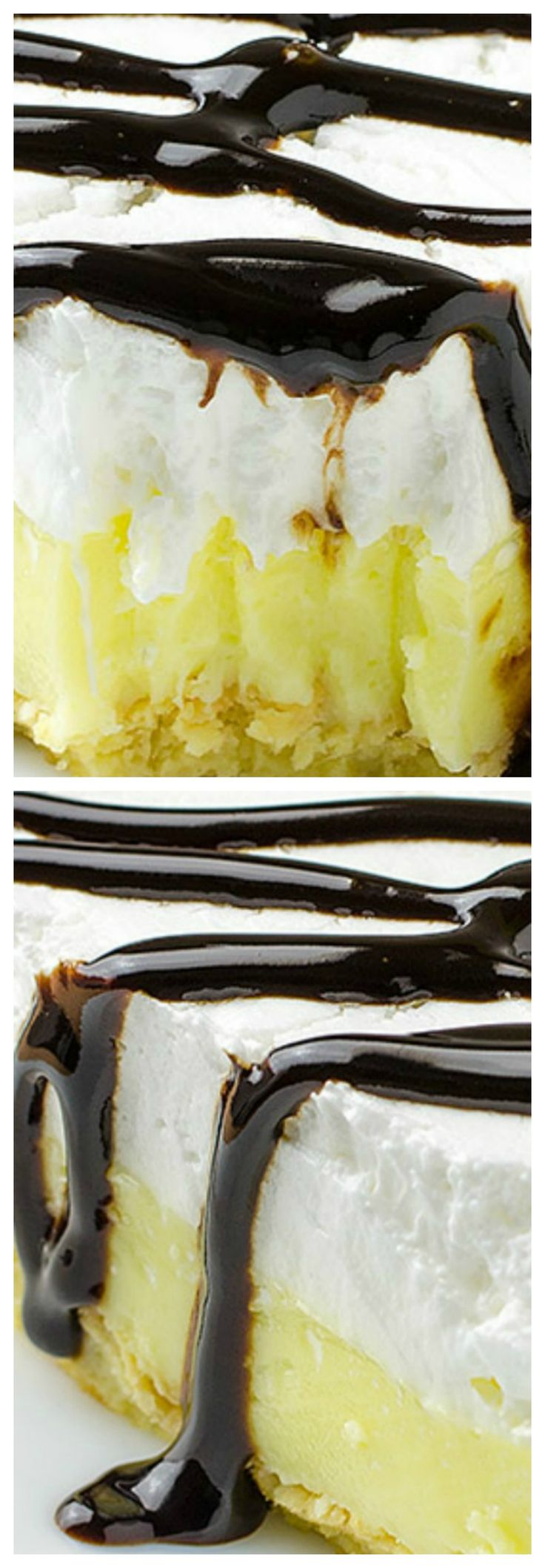 Vanilla Cream Puff Cake or Eclair Cake ~ So easy, quick and creamy...  One of the easiest and tastiest desserts ever... Perfect combination with vanilla and chocolate.