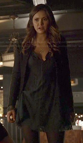 Elena's teal green lace dress on The Vampire Diaries.  Outfit Details: https://wornontv.net/40849/ #TheVampireDiaries