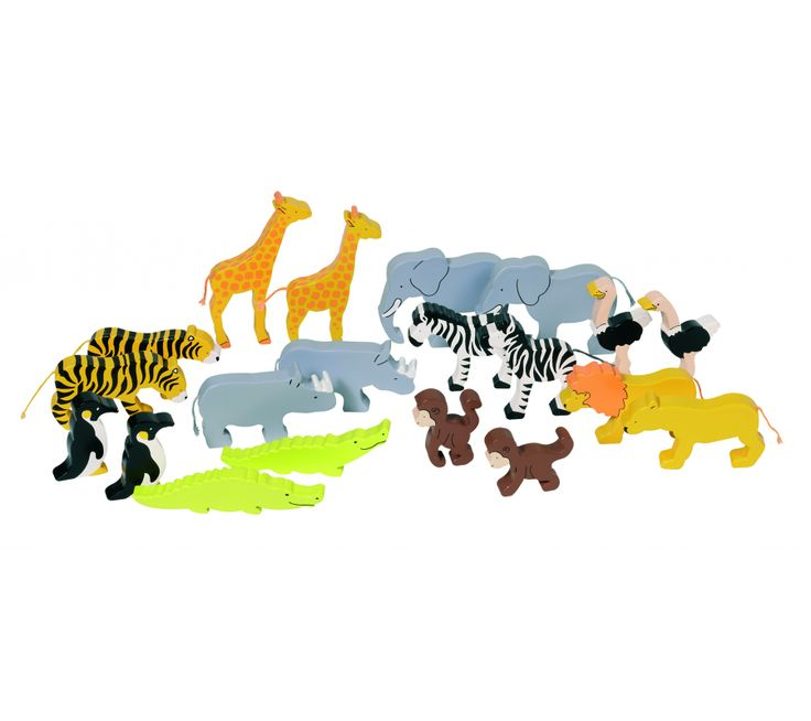 Afrikanske dyr i træ til leg og spil - fra Goki