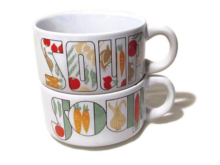SOUP Mugs, Pair of Soup Mugs, White Pottery Soup Mugs, Serving Bowl, Laslovelies