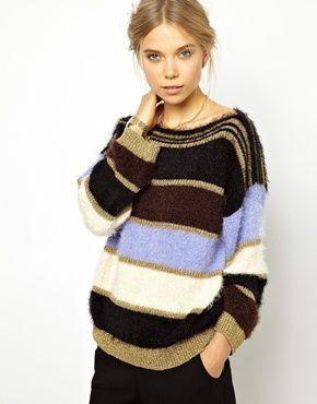 Bild 1 von Ganni – Flauschiger Pullover mit mehrfarbigen Streifen