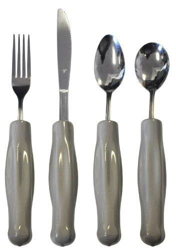 Weighted Utensils Set of Four  Contains: #Teaspoon #Soupspoon Fork & Knife * Gray vinyl handle is designed to fit the fingers * Heavy weighted utensil helps to stabilize the tremulous hand of the Parkinson patient * Stainless steel utensil * Handle diameter is approximately 11/8