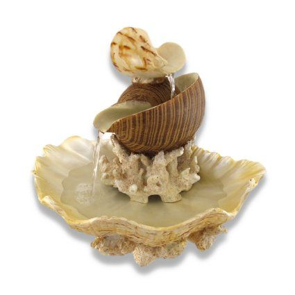 Sculpted Seashells and Coral Indoor Table Top Water Fountain