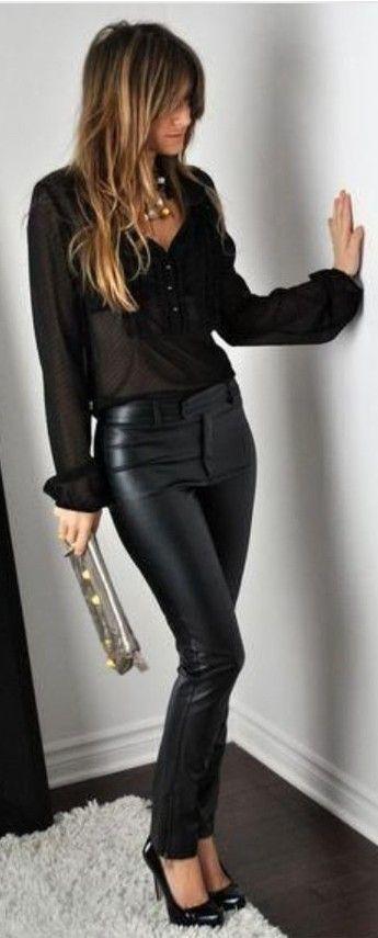 Ideas para combinar pantalones efecto cuero, ¡no os lo perdáis!
