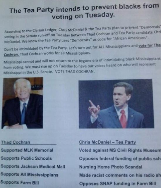 Picture of campaign flier claiming Chris McDaniels was hostile to African Americans, but Thad Cochran was not. MS-Sen