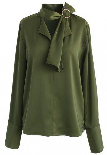 If you've got a weakness for all things classy, then the loose silhouette of this smock top with its neutral green hue is the perfect blouse to give in to this season. The self-tie sash with its O-ring on neckline provides an added dose of softness. - Self-tie sash with O-ring on neckline - Buttoned cuffs - No lining - 100% Polyester - Hand wash Size(cm) Length  Bust Shoulder Sleeves S/M      61     98    40      63 Size(inch) Length Bust Shoulder Sleeves S&#x...
