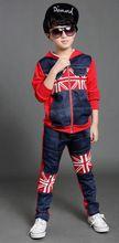 Elevato standard di autunno della molla dei ragazzi di stile inghilterra flag felpa con cappuccio abbigliamento per teen tuta di jeans per ragazzi giacca di jeans e pantaloni 2 pz set(China (Mainland))