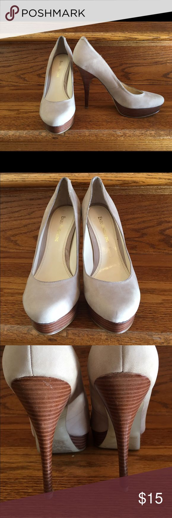 """Enzo Angiolini Beige Suede Platform Heels Pumps Enzo Angiolini Beige Suede Platform Pumps Size 7. Worn a few times and they are a few scuffs in the them. Please see pictures. Heel is 5"""" and platform is 1"""". Enzo Angiolini Shoes Heels"""