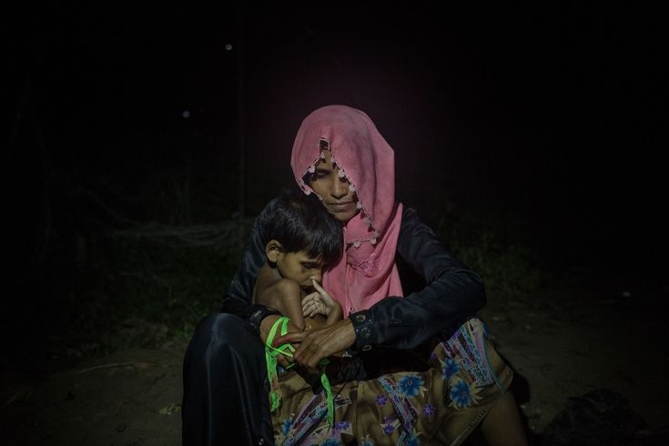 Many women who fled into Bangladesh by themselves have been waiting by the roadside near refugee camps for food handouts.