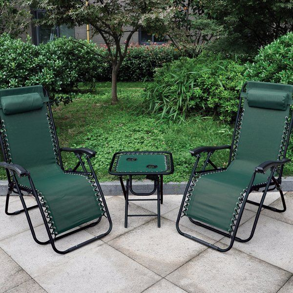 AntiGravity Reclinning Chair and Table Green Wooden