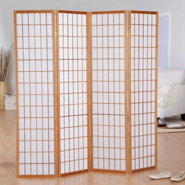 Jakun Shoji Four Panels Honey Accordion Room Dividers Home Depot