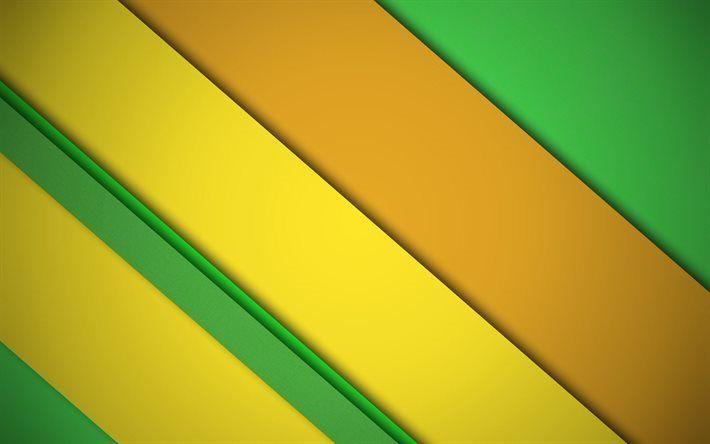 Scarica sfondi linee astratte, materiale, giallo, linee, linee verdi