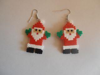 Santa earrings mini hama perler by smillavannilla