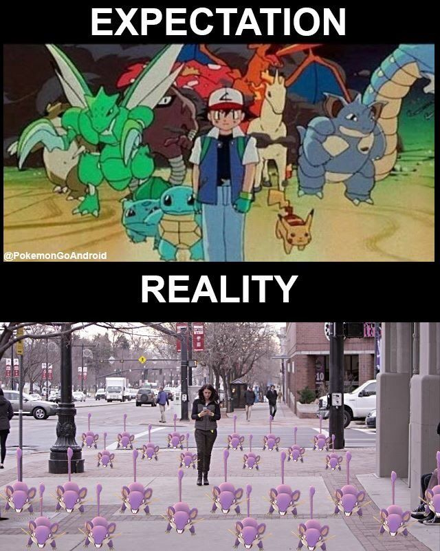 Not accurate, i believe there should be some caterpies and pidgys too!pokemon go memes - Buscar con Google