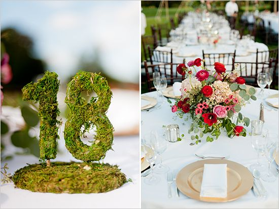 garden country club wedding...love the moss covered table numbers!