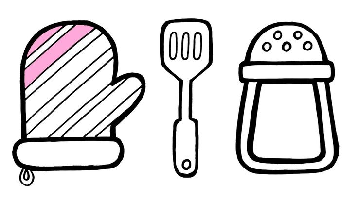 Kitchen Utensils 10 Piece Drawing And Coloring For Kids