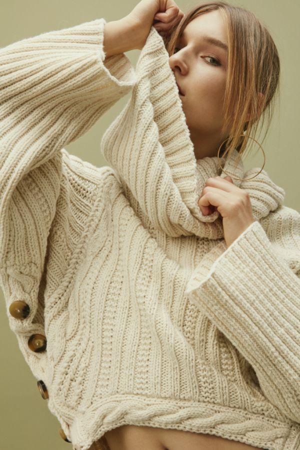 knitGrandeur: Buttoned Up- Spencer Vladimir turtleneck sweater with side button closure