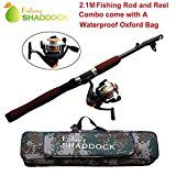 SALE PRICE $10.98 - Shaddock Fishing Spin Spinning Fishing Rods and Reels Combos Waterproof Fishing Travel Tackle Bag Case Portable Adjustable Fishing Rod Reel Combo Kit
