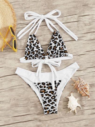 Leopard Drawstring Halter Top With High Leg Bikini