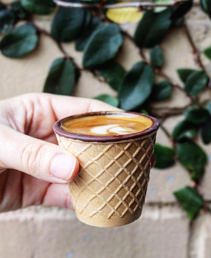 Coffee in a waffle cone mind blown  Tag @coffee in your top 's using #EEEEEATS  #COFFEEEEE : @snackiegillum by coffee