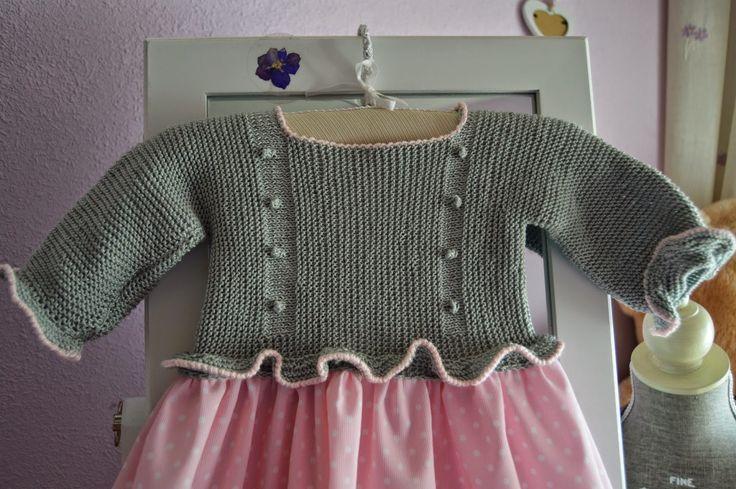 Tutorial vestido con jersey de punto con volantes y falda de tela-talla 3-6 meses ( I parte) Bicarica Ropita artesanal para bebés y niños/Ropa artesanal para bebé hecha en casa/Handmade baby clothes