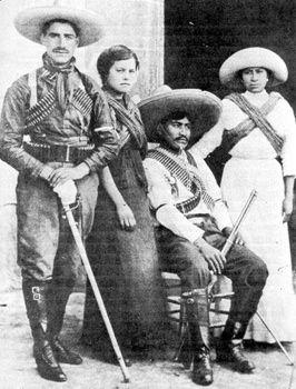 Pancho Villa and his sister, and papa