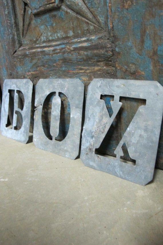 box vintage zinc stencil letter