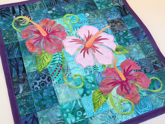 Batik Hibiscus Quilted Wall Hanging Art Quilt Pattern Or Etsy Art Quilts Quilted Wall Hangings Hawaiian Applique Quilt