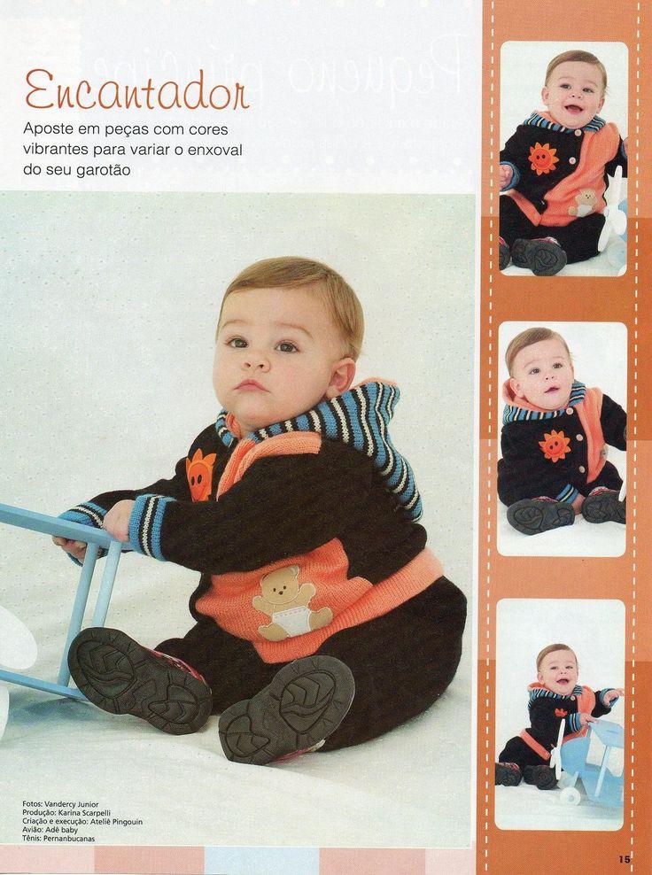 RECEITA TRICÔ FÁCIL Revista Tricô Crochê Bebê- Modelos de conjuntinhos super charmosos Receitas e gráficos inéditos para você tric...
