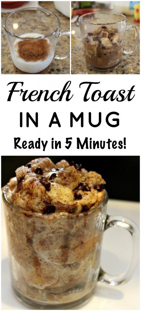 French Toast in a Mug - 2 steps 1 dish - ready in 5 minutes. Quick on the go breakfast idea.
