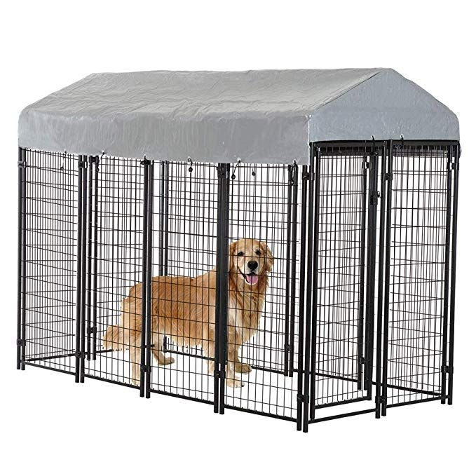 Bestpet Dog Crate Pet Kennel Cage Puppy Playpen Wire Animal Metal Camping Indoor Outdoor Cage For Large Dogs With Roof 4 X 4 X 4 3 7 5 X 3 75 X 5 8 Feet Review