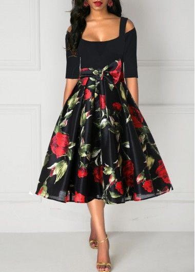 Rose Print Tie Waist Half Sleeve Cold Shoulder Dress | Rosewe.com - USD $32.64 11