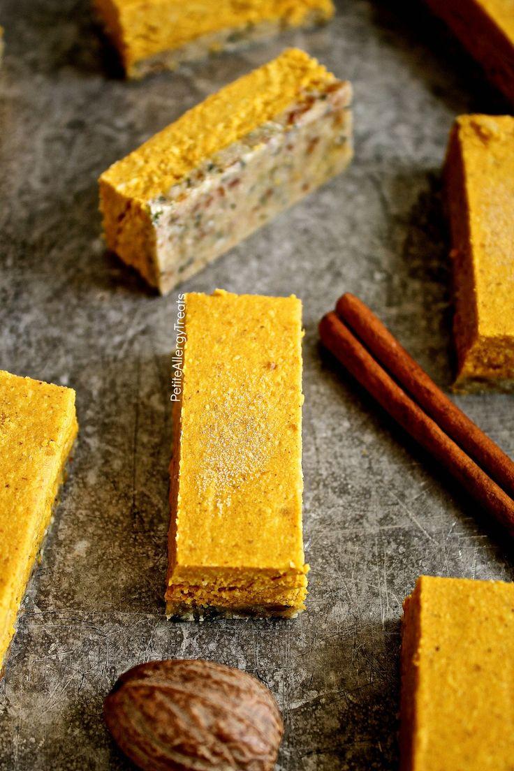 Raw Vegan Glutenfrei Kürbis Bars Pie Rezept (Milch Losmutter frei) - No-Bake rohen Balken gefüllt mit echten Kürbis, Kokosbutter, Datteln und Hanfsamen.  Raffinierter Zucker frei.  Lebensmittel-Allergie-freundlich