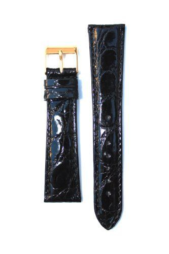18mm Black Genuine Handmade Padded Crocodile From Italy with Nubuck Lining *** Details can be found by clicking on the image.
