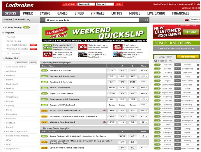 In the world of online sports betting, few sites manage to build up a reputation for excellence and reliability that stands untarnished and Ladbrokes is definitely one of them. Ladbrokes offers punters a wide selection.... http://www.latestsportsbonuses.com/sportsbooks/ladbrokes-sportsbook/