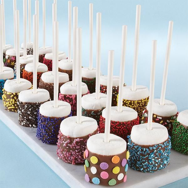 These candy-coated marshmallow pops offer an impressive array of textures and color, thanks to assorted Wilton Sprinkles!