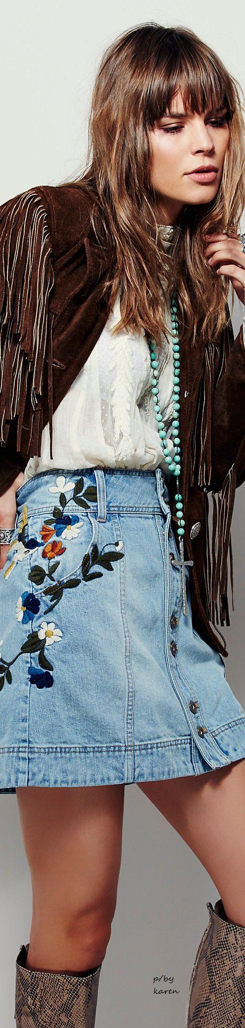 Embroidered Denim Skirt - Free People