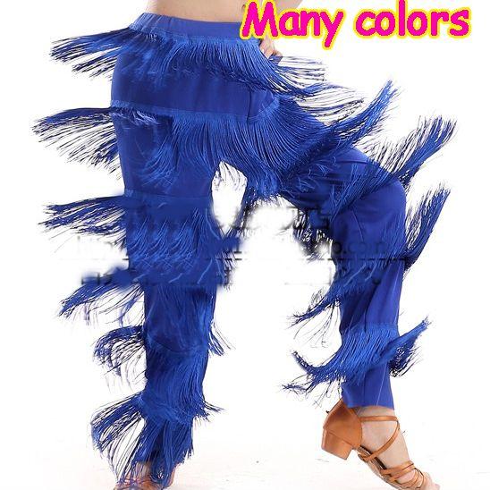 Free Shipping New Cheap Women Ladies Girls Black Red Purple Blue White Fringe Latin Dance Pants Jazz Samba Fringe Dance Pants