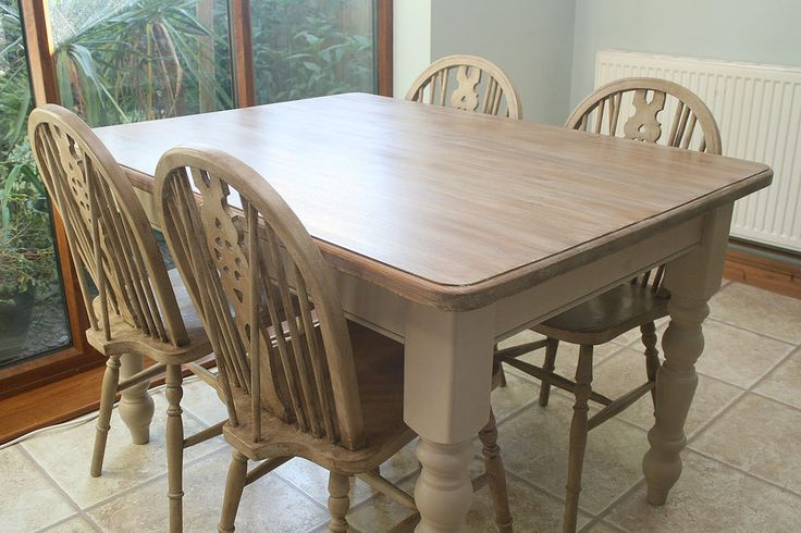 Fabulous Shabby Chic Farmhouse Table & Chairs, Annie Sloan painted and waxed