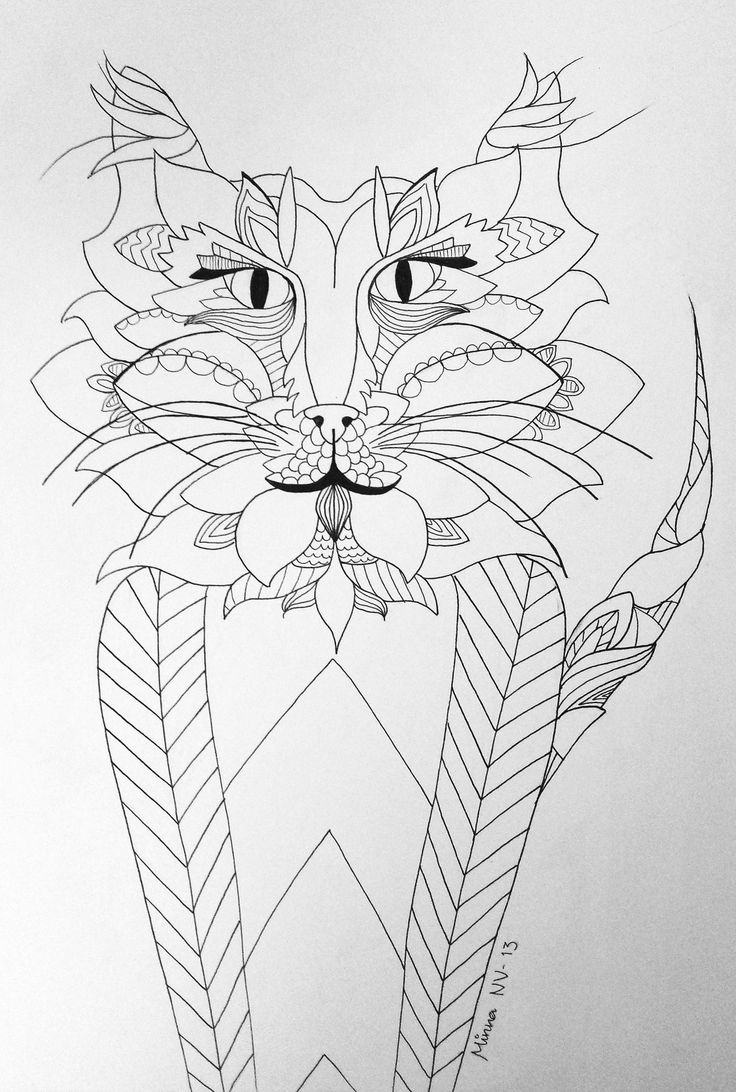 A little illustration made in 2013. #illustration #cat #tiger #animal #ish #drawing