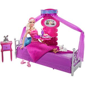 Barbie Bed to Breakfast Bedroom Furniture and Doll Play Set