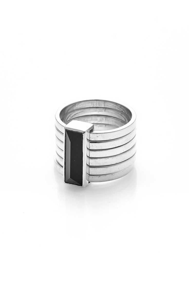 Six Piece Prism Ring - Silver / Onyx - Rings - Jewellery | Stolen Girlfriends Club $349