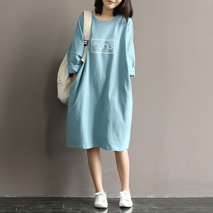 Summer 2016 Women Cotton T shirt Dress Mori Girl Style Loose Round Neck  Batwing Sleeve Midi Long Dress Robe Femme Vestidos-in Dresses from Women's Clothing & Accessories on Aliexpress.com | Alibaba Group